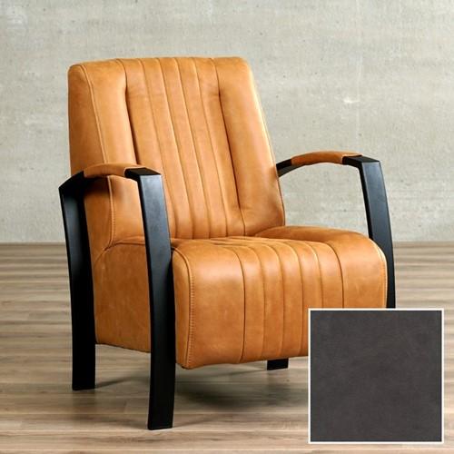 Leren fauteuil Glamour - Vintage Leer Grey - Frame zwart