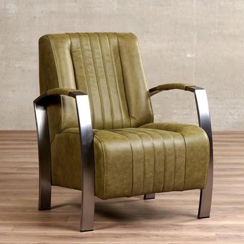 Leren fauteuil Glamour - Vintage Leer Olive - Frame industrieel