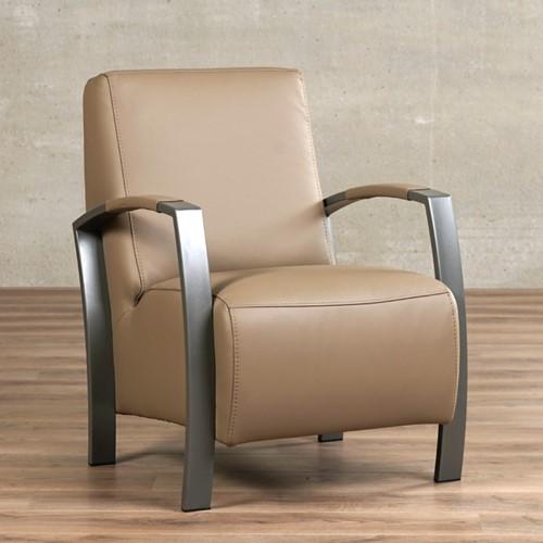 Leren fauteuil Glory - Toledo Leer Mocca - Frame grijs