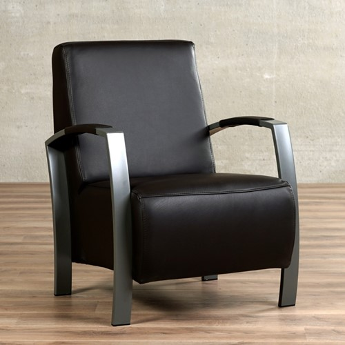 Leren fauteuil Glory - Massif Leer Nero - Frame grijs