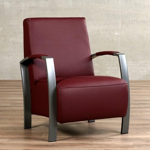 Leren fauteuil Glory - Massif Leer Rubino - Frame grijs