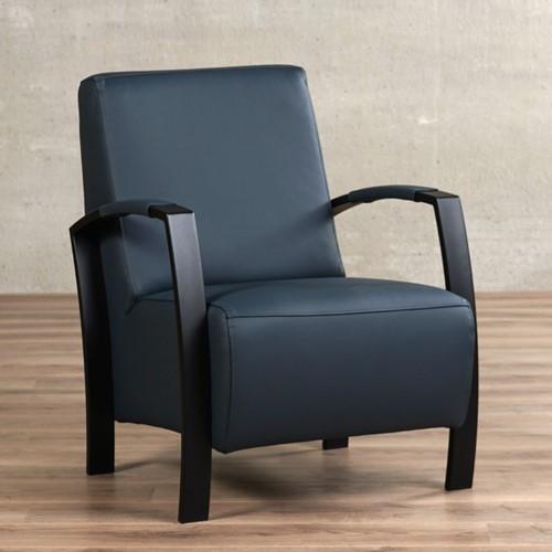 Leren fauteuil Glory - Toledo Leer Marine - Frame zwart