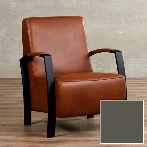 Leren fauteuil Glory - Toledo Leer Smog - Frame zwart