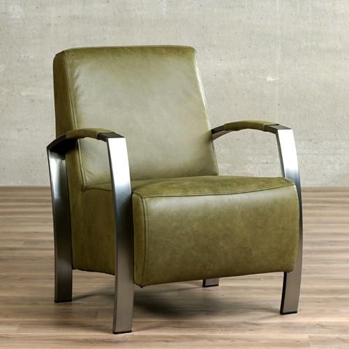 Leren fauteuil Glory - Vintage Leer Olive - Frame grijs