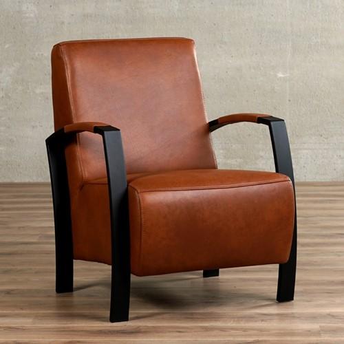 Leren fauteuil Glory - Granada leer Savannah - Frame zwart