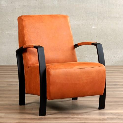 Leren fauteuil Glory - Kenia Leer Rost - Frame zwart
