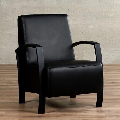 Leren fauteuil Glory - Massif Leer Nero - Frame zwart