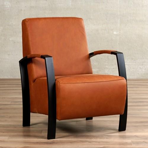Leren fauteuil Glory - Rancho Leer Cognac - Frame zwart