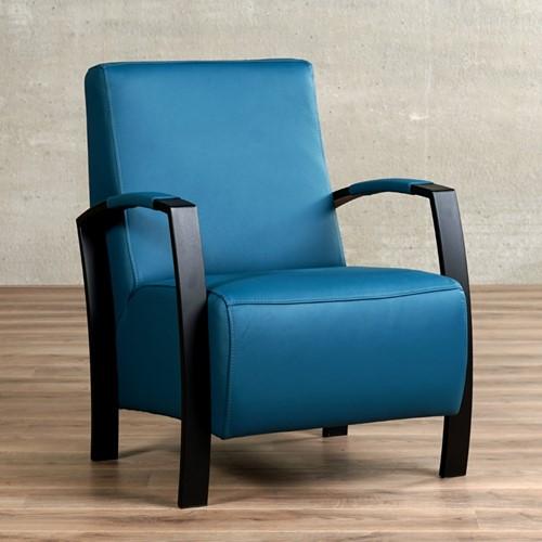 Leren fauteuil Glory - Toledo Leer Turquoise - Frame zwart