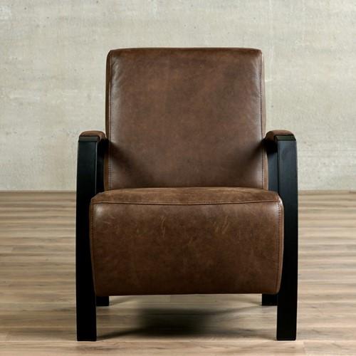 Leren fauteuil Glory - Vintage Leer Brown - Frame zwart-2