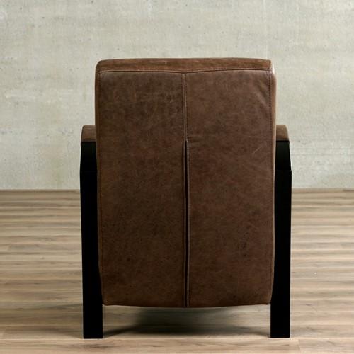 Leren fauteuil Glory - Vintage Leer Brown - Frame zwart-3