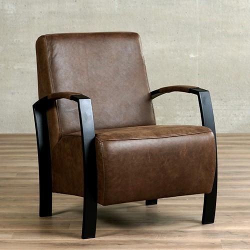 Leren fauteuil Glory - Vintage Leer Brown - Frame zwart