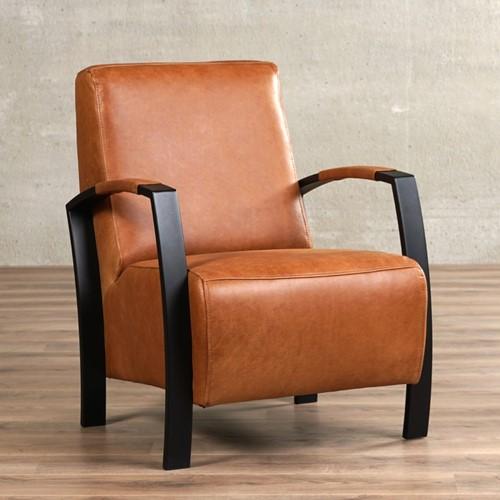 Leren fauteuil Glory - Vintage Leer Cognac - Frame zwart