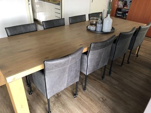 Set van 8 leren kuip eetkamerstoelen - met wieltjes - grijs leer