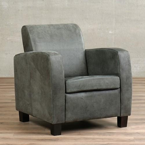 Leren fauteuil Joy - Kenia Leer Antracite - Hout - Bruin