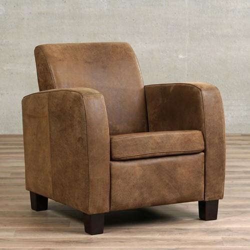 Leren fauteuil Joy - Kenia Leer Brown - Hout - Bruin