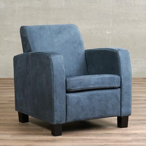 Leren fauteuil Joy - Kenia Leer Denim - Hout - Zwart