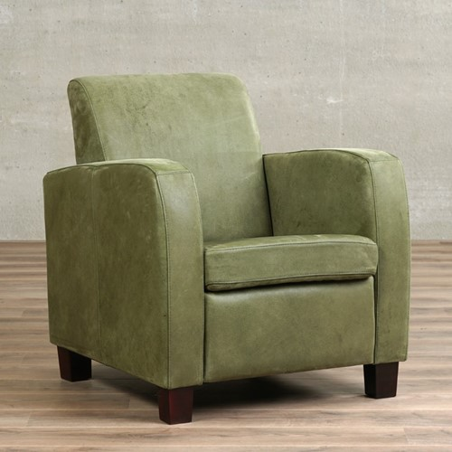 Leren fauteuil Joy - Kenia Leer Olive - Hout - Bruin