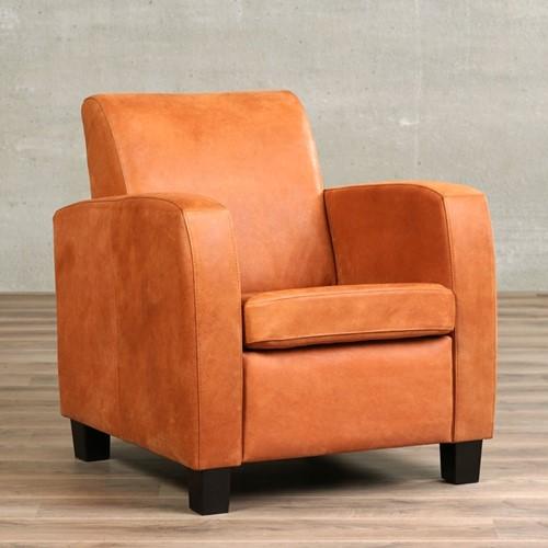 Leren fauteuil Joy - Kenia Leer Rost - Hout - Zwart