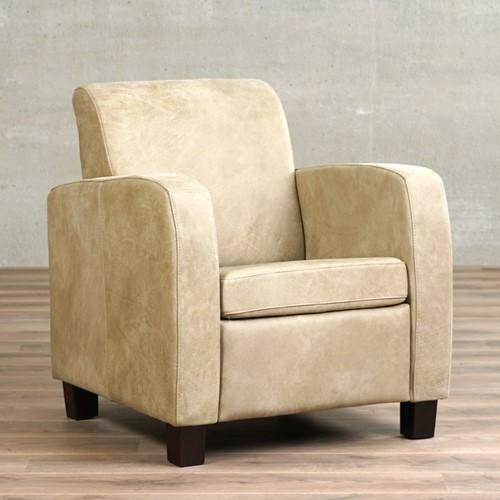 Leren fauteuil Joy - Kenia Leer Taupe - Hout - Zwart