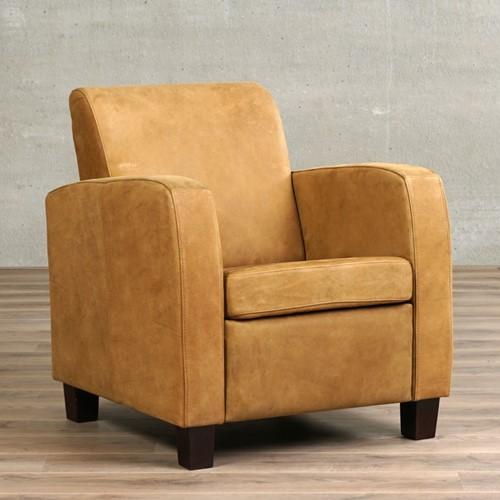 Leren fauteuil Joy - Kenia Leer Walnut - Hout - Bruin