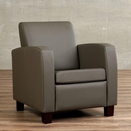 Leren fauteuil Joy - Toledo Leer Smog - Hout - Bruin
