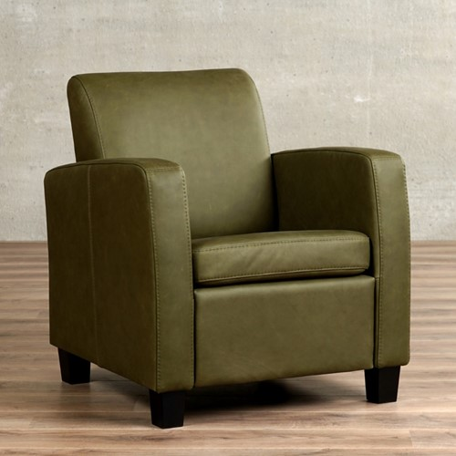 Leren fauteuil Joy - Rancho Leer Green - Hout - Zwart