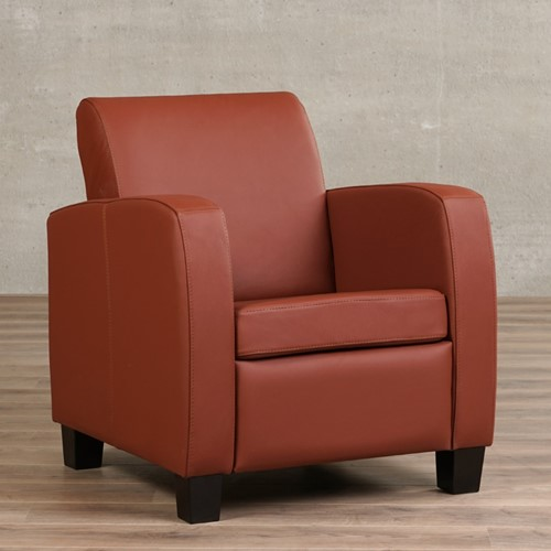 Leren fauteuil Joy - Toledo Leer Terra - Hout - Bruin