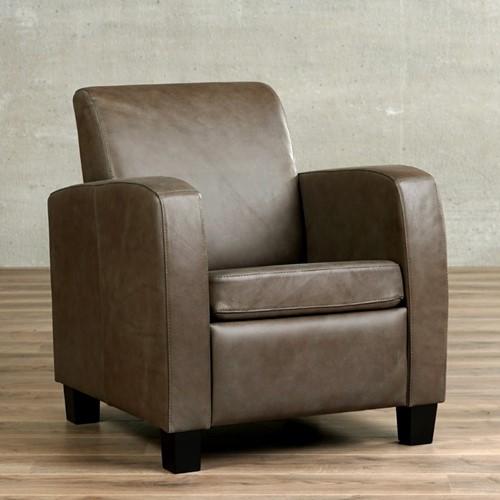 Leren fauteuil Joy - Castor Leer Grijs - Hout - Zwart Limited edition