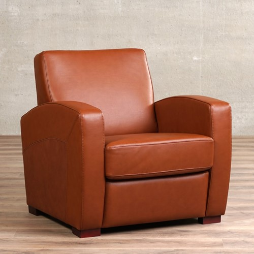 Leren fauteuil Kindly - Massif Leer Armagnac - Hout - Bruin