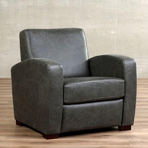 Leren fauteuil Kindly - Vintage Leer Grey - Hout - Zwart
