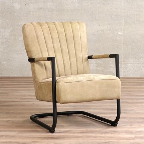 Leren fauteuil Lazy - Kenia Leer Taupe met sledepoot