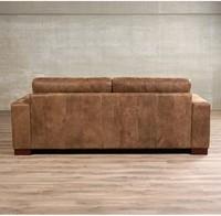 Leren bank Enjoy, 3-zitsbank - Kenia Leer Brown - Hout, Bruin - (224x90cm)-3