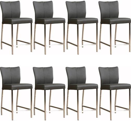 Leren barstoel Revolt laag - set van 8 stoelen