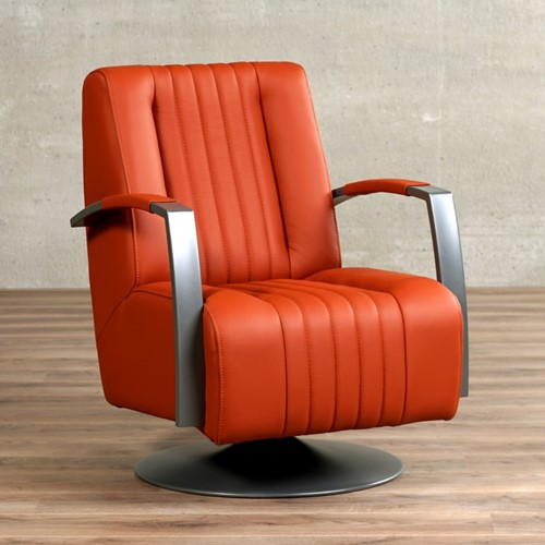 Leren draaifauteuil Galaxy - Toledo Leer Orange - Frame grijs - Schotelvoet grijs