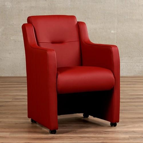Leren eetkamerfauteuil Mass - Toledo Leer Red - Met handgreep met armleunig en wieltjes