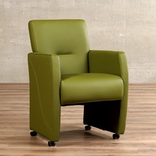 Leren eetkamerfauteuil Pleasure - Toledo Leer Apple Green - Met handgreep met armleunig en wieltjes