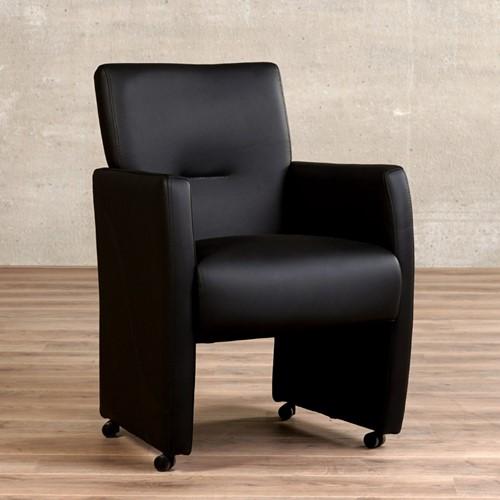 Leren eetkamerfauteuil Pleasure - set van 8 stoelen - Hermes Leer Nero - Met handgreep met armleuning en wieltjes