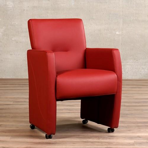 Leren eetkamerfauteuil Pleasure - Toledo Leer Red - Met handgreep met armleunig en wieltjes