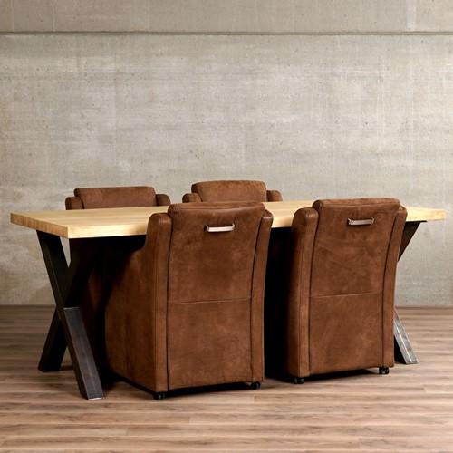 Set van 4 leren eetkamerfauteuils - met armleuning en wieltjes - bruin leer