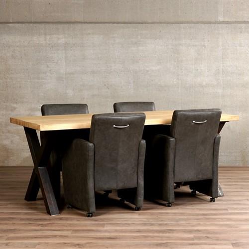 Set van 4 leren eetkamerfauteuils - met armleuning en wieltjes - grijs leer