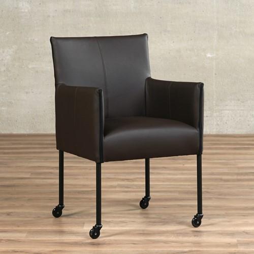 Leren eetkamerstoel More - met wieltjes en armleuning - Toledo Leer Caffe - Poot - Zwart - Skate wiel zwart