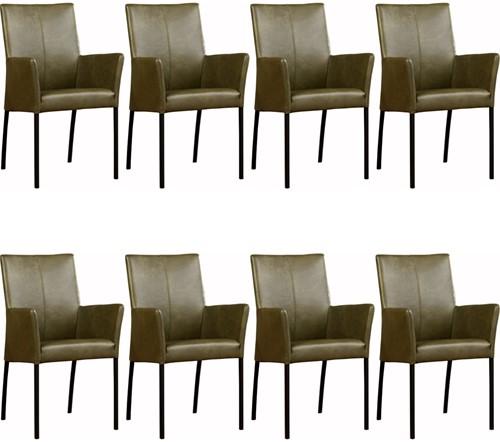 Leren eetkamerstoel Comfort - met armleuning - set van 8 stoelen
