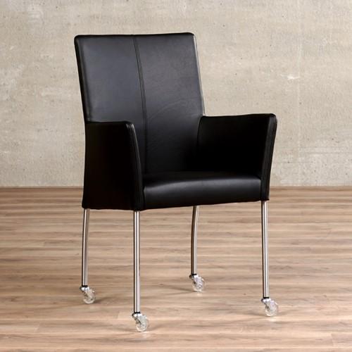 Leren eetkamerstoel Comfort - met wieltjes en armleuning - Hermes Leer Nero - Poot - Rond - RVS - Skate wiel transparant