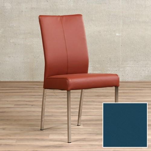 Leren eetkamerstoel Comfort - Toledo Leer Turquoise - Vierkant - RVS