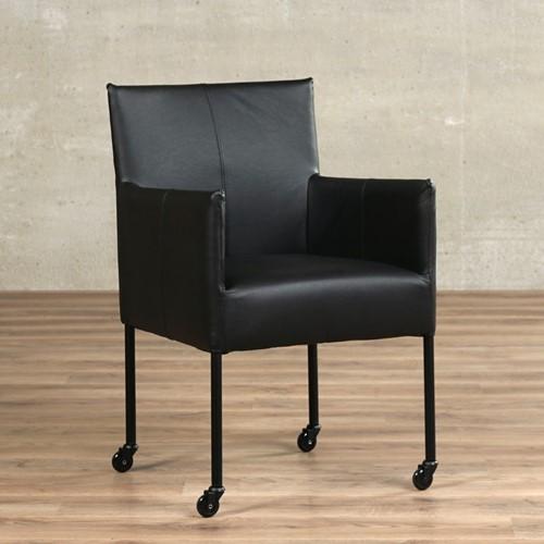 Leren eetkamerstoel Desire - met wieltjes en armleuning - Hermes Leer Nero - Poot - Zwart - Skate wiel zwart