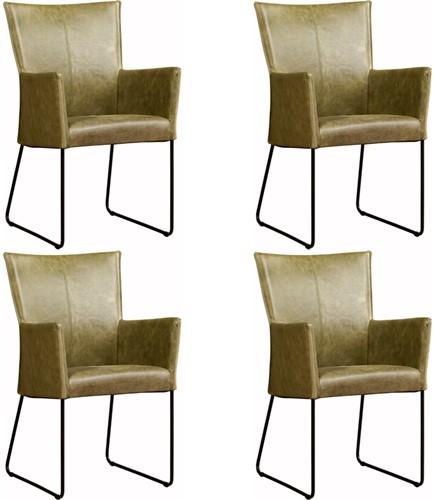 Leren eetkamerstoel Mate - met armleuning - set van 4 stoelen