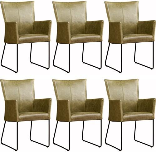 Leren eetkamerstoel Mate - met armleuning - set van 6 stoelen