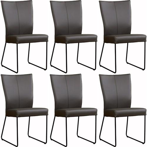 Leren eetkamerstoel Mate - set van 6 stoelen design U-poot