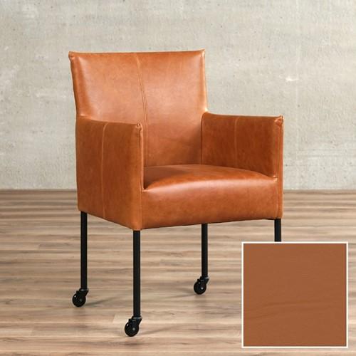 Leren eetkamerstoel Desire - met wieltjes en armleuning - Hermes Leer Cognac - Poot - RVS - Skate wiel transparant